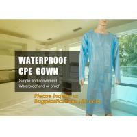 Best Disposable CPE plastic gown/Plastic coat Elastic cuff/Thumb Cuff,disposable hospital CPE isolation gown /protection gown wholesale