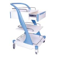 Best Aluminum Alloy Frame Medical Instrument Trolley Bule Red With Four Silent Castors wholesale