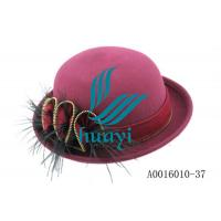 China Wholesale womens bowler hat with feather decoration on sale
