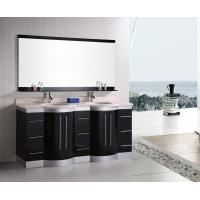 Best Artificial Stone Eased Edges Double Vanity Countertops And Sinks Black Color wholesale