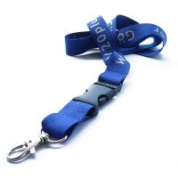 China promotional blue silk screen polyester lanyard strap with custom logo,polyester neck lanyards on sale