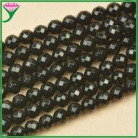 Best cheap price 10mm loose natural faceted round black agate beads for make necklaces wholesale