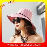 Best AK17594 fashion polyester braid foldable summer straw hats for womens in stock , promotion cheap hats . wholesale