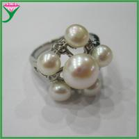 Best Wholesale cheap latest designs natural white freshwater pearl moti ring wholesale