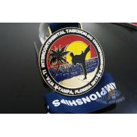 Best Taekwondo Round Custom Race Medals Sandblast Effect With Gold Plating wholesale