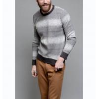 Best 100 Cotton Knit Pullover Sweater Frequency Ombre Stripe For Adult Male wholesale