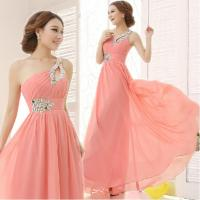 China Lovely Pink Beaded A-line One-Shoulder Lace-up Chiffon Long Homecoming Dress Girls Formal Dress on sale