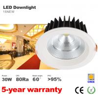Best Dimmable Anti-dazzle 30W Recessed LED Downlight 170mm hole CREE COB LED Light CE Rohs wholesale