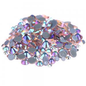 Best Custom Size Stick On Rhinestones  , Round Shape Glass Crystal Rhinestones wholesale