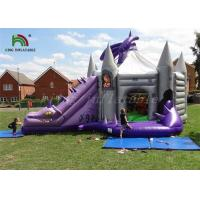 China Purple / Grey Inflatable Jumping Castle With Dragon Slide Roofed Playground on sale