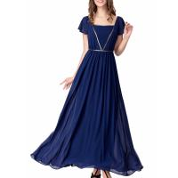 Best Elegant Chiffon U Neck Womens Summer Maxi Dresses Royal Blue Flare Sleeves Big Sweep wholesale