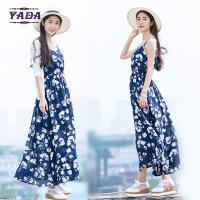Best Summer beach floral spaghetti straps maxi latest party designs 100% cotton white dress with good quality wholesale