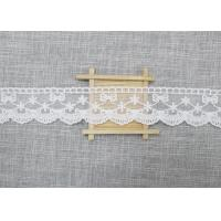 Buy cheap White Embroidered Lace Trim For Smocked Dress / Lace Ribbon Embroidery Fabric from wholesalers