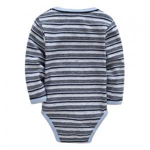 Best Autumn Stripe Organic Cotton Long Sleeve Baby Romper Customized Color wholesale