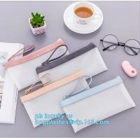 Best clear vinyl TPU pencil case bag with zipper for boys girls, Creative contracted envelope bag translucent frosted pencil wholesale