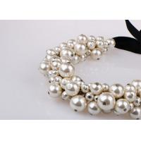 Best Fashion Costume Jewelry Cluster Pearl Pendant Necklace With Black Ribbon wholesale