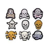 Best indian silk Colorful beads big bone skull embroidery patch handmade gold line sign stickers wholesale