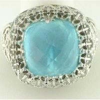 Best stainless steel casting ring with aquamarine gem LRX21 wholesale
