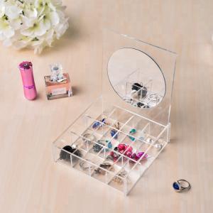 China Clear Acrylic Jewelry Display Jewelry Display Set Storage With Mirror OEM Service on sale