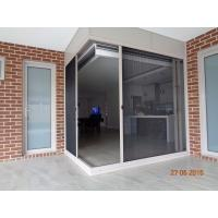 China Aluminum alloy frame polyester pleated mesh folding fly screen door on sale