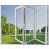 Best Folding Door with Tempered Glass, White, Bronze Powder Coating or Cherry Wood Grain Finish wholesale