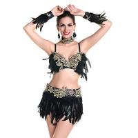 Best Heavy Lace Over Sexy Night Club Dresses Rhinestones Delights Feather Costumes For Dancing wholesale