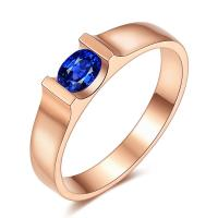 Best Simple 18k Gold Sapphire Diamond Ring With Rose Gold / Natural Solitaire Sapphire Gemstone wholesale