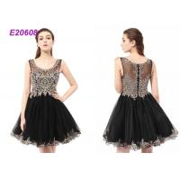 Best Boat Neck Tulle Beading Ladies Cocktail Dresses For Wedding Party Black And Champange wholesale