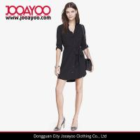 Best New Style Black Long Sleeves Button Front Casual Shirt Dress wholesale