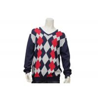 Best Argyle Mens Casual Sweater Intarsia Knitting Patterns V Neck Knitted Jumper wholesale