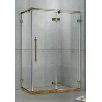 Best Green Bronze Frameless Hinged Shower Doors Two Fixed Panels  Rectangle Stainless Support Bar wholesale