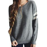 Cheap Trendy Crew Neck Long Sleeve Sweater , Knit Strips Boyfriend Pullover Sweaters for sale
