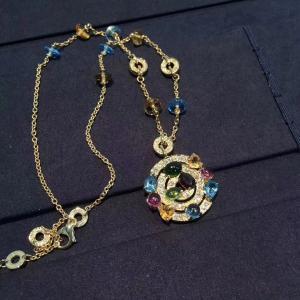 Best Luxury Custom 18K Gold Jewelry , Bulgari Astrale Necklace With Gemstones wholesale