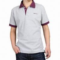 China Cotton Polo Placket T-shirt with Flat Collar, Men's Polo T-shirt on sale