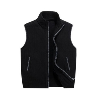 China Stand Collar Thick Knit Cardigan Sleeveless Sweater Vests on sale
