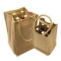China heavy-duty wine bottle jute bags customized logo printing wine store promotional bags on sale