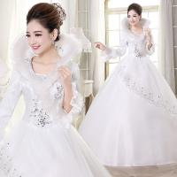 Best Adjustable Embroidery Lace White Cotton Wedding Dresses Beaded for winter wholesale