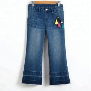 Best Wide Leg Tassel Trim Girls Denim Jeans , Bell Bottom Pants Adjustable Waist wholesale