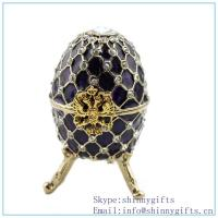 free shipping coral faberge egg crystals trinket box_coral egg shaped trinket with rhinest