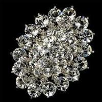 Best Custom rhodium plated Copper / alloy handmade zinc alloy crystal bridal brooches wholesale