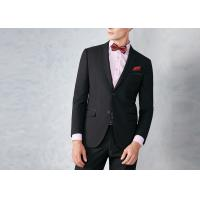 Cheap Black Tailored Mens Tuxedo Suits Breathable Polyester / Rayon Fit Wedding Party for sale