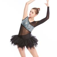 Cheap Ballet Dance Competition Costumes V Neckline Glitter Bodice Black Single Sleeve for sale