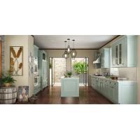 Best Villa Fashion Style Green Color Pvc Kitchen Furniture U - Shape With Island Bench wholesale