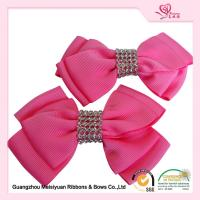 China Hand Made little Girls Hair Bows Pretty Pink Grosgrain Ribbon material on sale