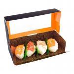 Best Logo Printing Custom Brown Sushi Paper Box With Window Food Packaging White Cardboard wholesale