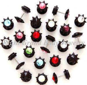 Best Black Acrylic Fake Plug Earrings ,Spike Cheater Earrings Stretcher wholesale