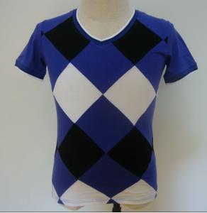 Summer Checked Panels Mens Polo T Shirts Short Sleeve V Neck T Shirts 95% Cotton 5% Spandex