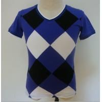 Cheap Summer Checked Panels Mens Polo T Shirts Short Sleeve V Neck T Shirts 95% Cotton 5% Spandex for sale