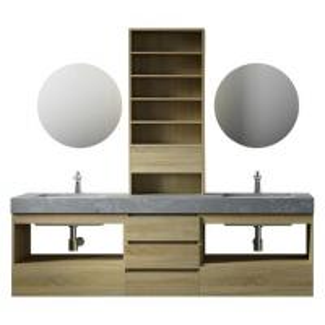 Best Large Storage Space Grey Bathroom Vanity , 2 Touch Round Mirrors Wall Mount Vanity wholesale