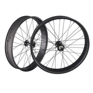 32 Holes UD Finish Carbon Fat Wheels 26 Inch Presta Valve 90mm Width Thru Axle